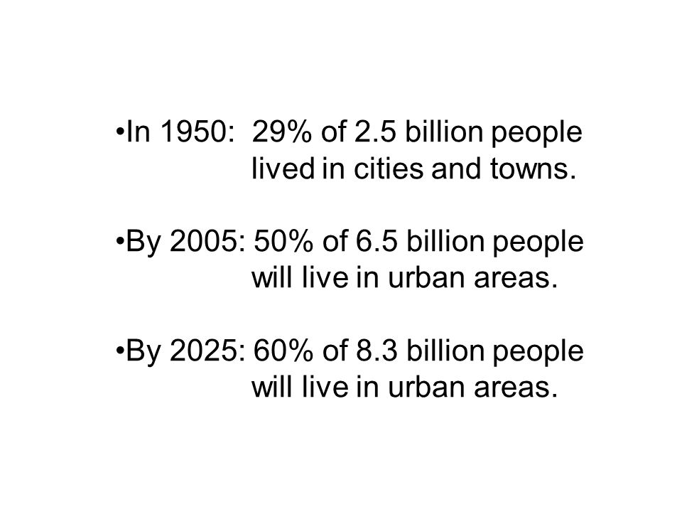 In 1950: 29% of 2.5 billion people lived in cities and towns.