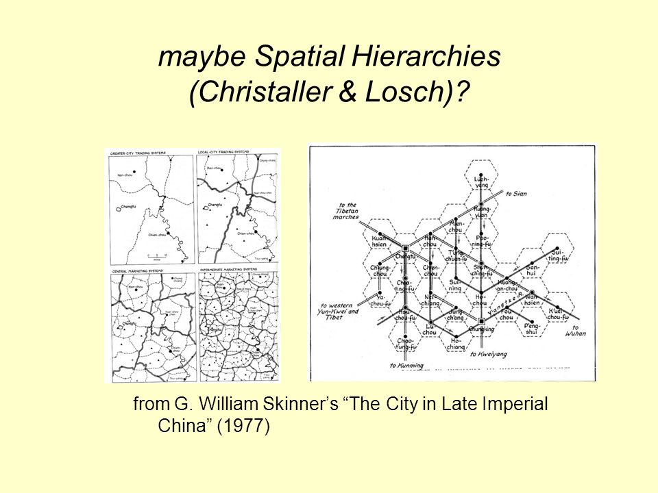 maybe Spatial Hierarchies (Christaller & Losch). from G.