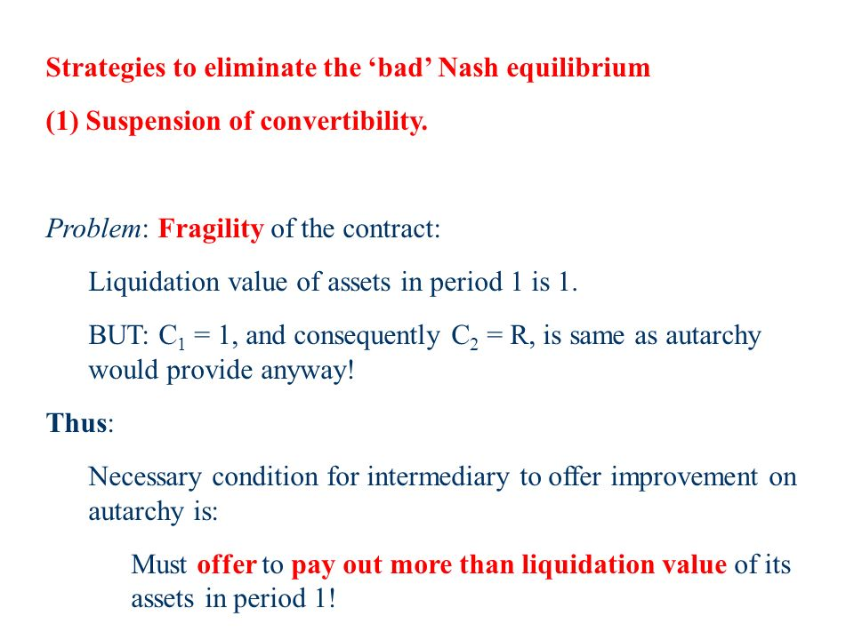 Strategies to eliminate the bad Nash equilibrium (1) Suspension of convertibility.