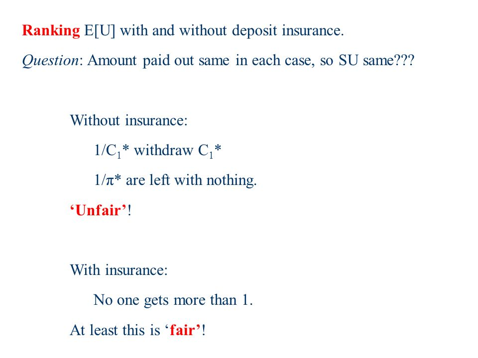 Ranking E[U] with and without deposit insurance.