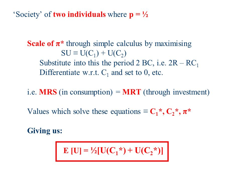 Society of two individuals where p = ½ Scale of π* through simple calculus by maximising SU U(C 1 ) + U(C 2 ) Substitute into this the period 2 BC, i.e.