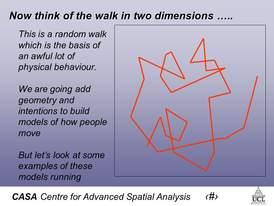 CASA Centre for Advanced Spatial Analysis 12 Now think of the walk in two dimensions …..