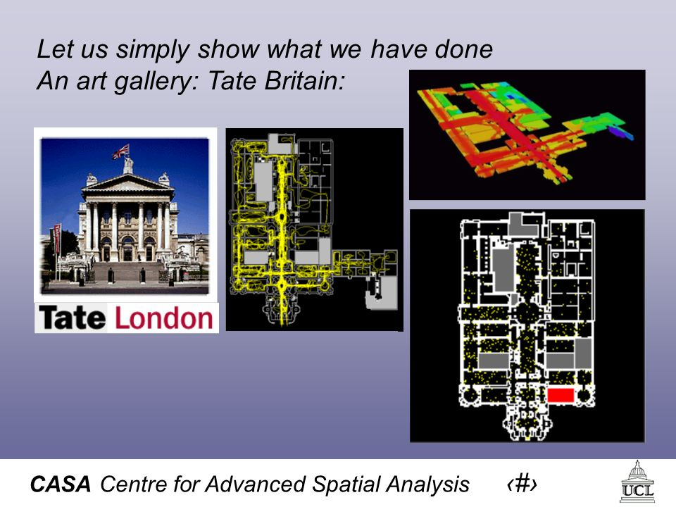 CASA Centre for Advanced Spatial Analysis 25 Let us simply show what we have done An art gallery: Tate Britain: