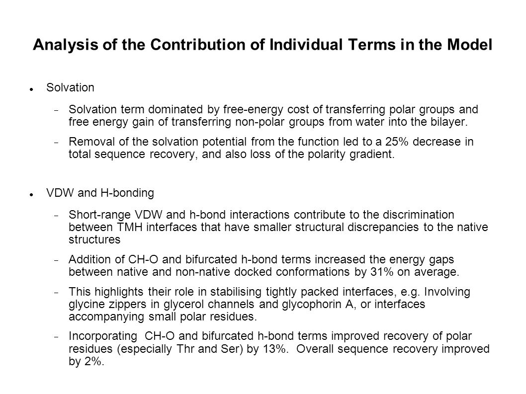 Analysis of the Contribution of Individual Terms in the Model Solvation Solvation term dominated by free-energy cost of transferring polar groups and
