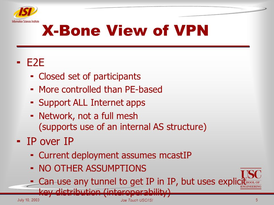 Joe Touch USC/ISI July 10, 20035 X-Bone View of VPN E2E Closed set of participants More controlled than PE-based Support ALL Internet apps Network, not a full mesh (supports use of an internal AS structure) IP over IP Current deployment assumes mcastIP NO OTHER ASSUMPTIONS Can use any tunnel to get IP in IP, but uses explicit key distribution (interoperability)