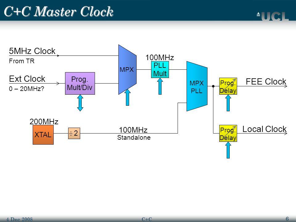 6 4 Dec 2008C+C C+C Master Clock : 2 XTAL 5MHz Clock From TR Ext Clock 0 – 20MHz.