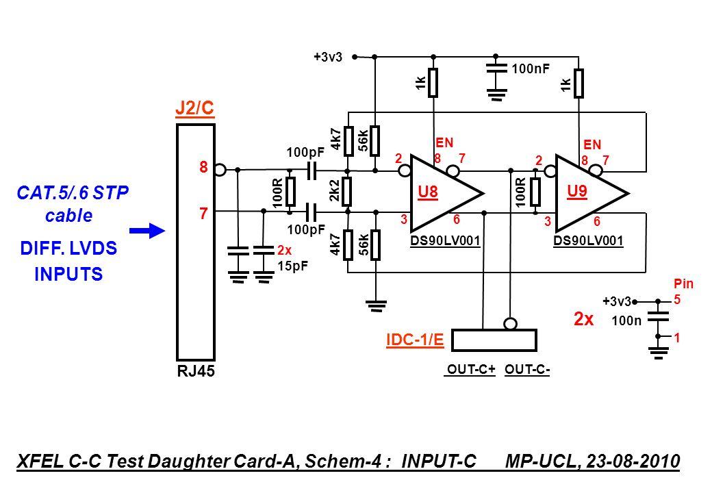 DS90LV001 4k7 100R 2k2 100R 4k7 OUT-C- DS90LV001 100pF EN 2 8 7 U8 3 6 EN 2 8 7 U9 3 6 1k +3v3 Pin 5 1 2x 100n RJ45 8787 XFEL C-C Test Daughter Card-A, Schem-4 : INPUT-C MP-UCL, 23-08-2010 CAT.5/.6 STP cable DIFF.
