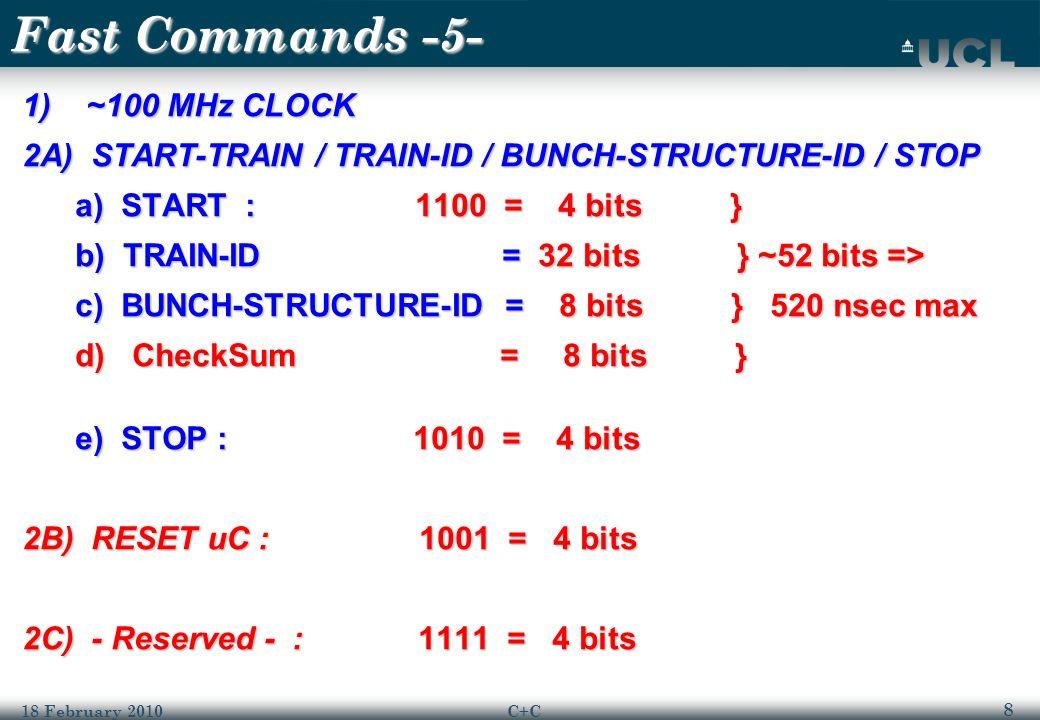 9 18 February 2010C+C Fast Commands -5B- 3A) VETO BUNCH a) VETO FOLLOWS Command : 110 = 3 bits a) VETO FOLLOWS Command : 110 = 3 bits b) BUNCH-ID = 12 bits b) BUNCH-ID = 12 bits c) -reserved- = < 5 bits ??.