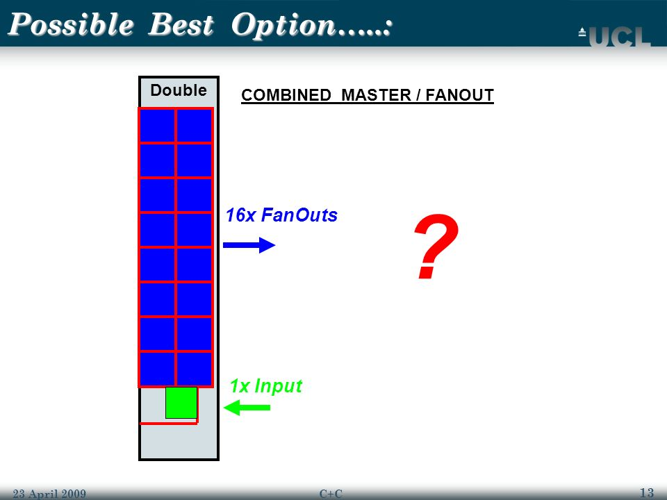 13 23 April 2009C+C Possible Best Option…..: Double 16x FanOuts 1x Input COMBINED MASTER / FANOUT ?