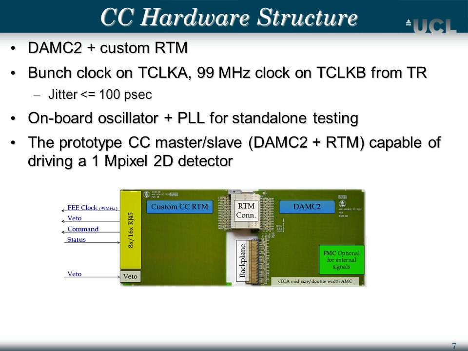 7 CC Hardware Structure DAMC2 + custom RTM DAMC2 + custom RTM Bunch clock on TCLKA, 99 MHz clock on TCLKB from TR Bunch clock on TCLKA, 99 MHz clock on TCLKB from TR – Jitter <= 100 psec On-board oscillator + PLL for standalone testing On-board oscillator + PLL for standalone testing The prototype CC master/slave (DAMC2 + RTM) capable of driving a 1 Mpixel 2D detector The prototype CC master/slave (DAMC2 + RTM) capable of driving a 1 Mpixel 2D detector