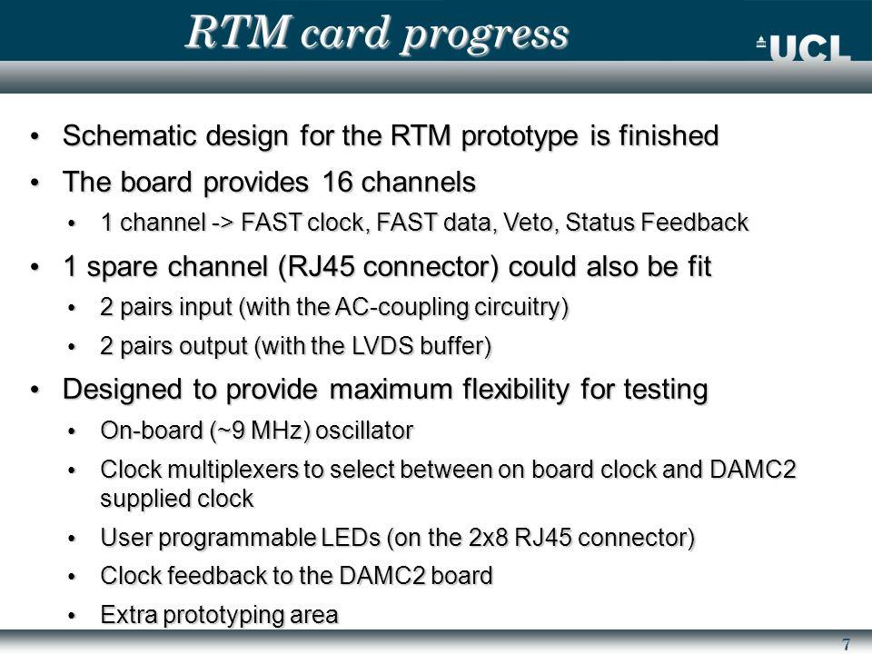 8 RTM card progress