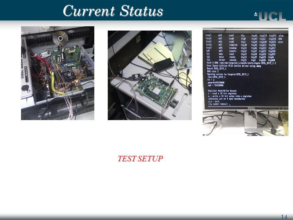 14 Current Status TEST SETUP