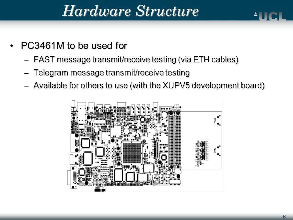 6 Hardware Structure PC3461M to be used for PC3461M to be used for – FAST message transmit/receive testing (via ETH cables) – Telegram message transmit/receive testing – Available for others to use (with the XUPV5 development board)