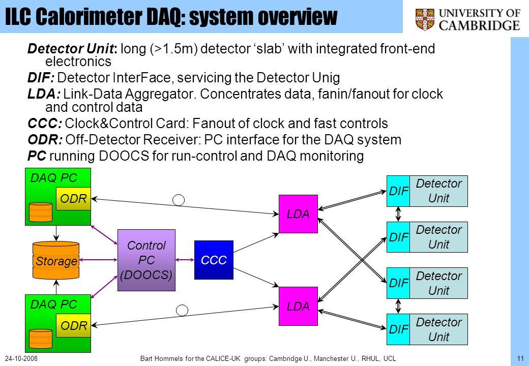 Bart Hommels for the CALICE-UK groups: Cambridge U., Manchester U., RHUL, UCL1224-10-2008 ILC Calorimeter DAQ: links & protocols 1.DIF-LDA: 80-160 MHz serial link.