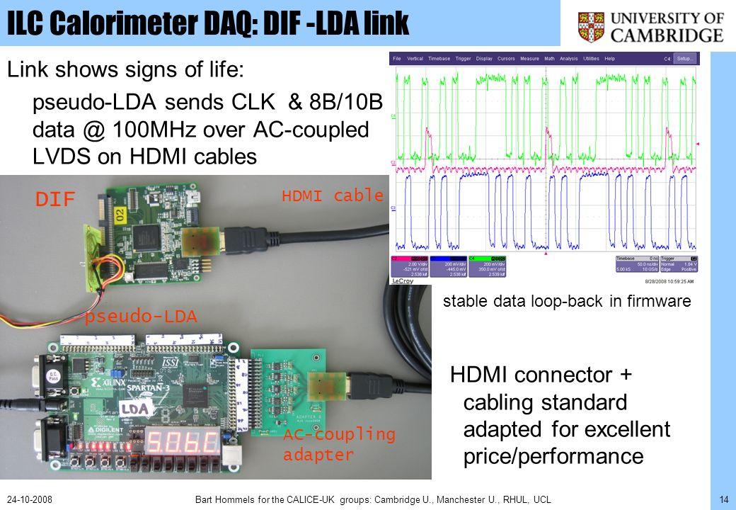 Bart Hommels for the CALICE-UK groups: Cambridge U., Manchester U., RHUL, UCL1424-10-2008 ILC Calorimeter DAQ: DIF -LDA link Link shows signs of life: