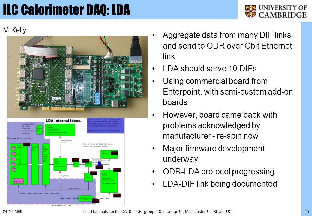 Bart Hommels for the CALICE-UK groups: Cambridge U., Manchester U., RHUL, UCL1524-10-2008 ILC Calorimeter DAQ: LDA Aggregate data from many DIF links