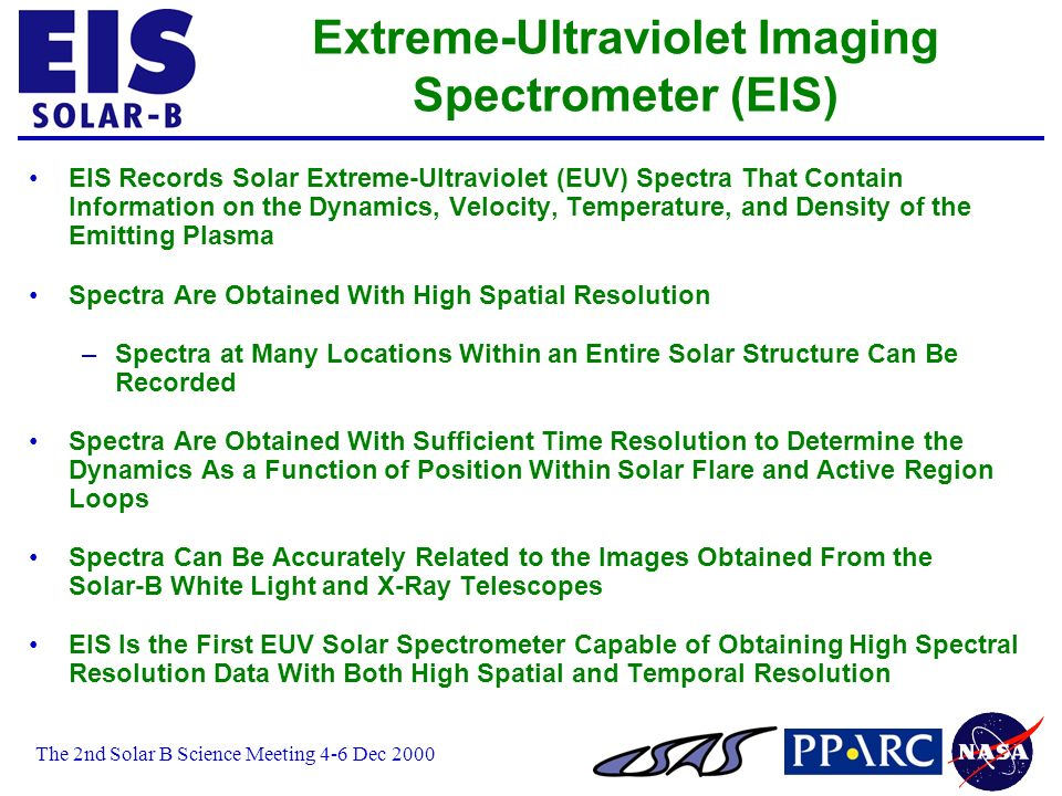 The 2nd Solar B Science Meeting 4-6 Dec 2000 Extreme-Ultraviolet Imaging Spectrometer (EIS) EIS Records Solar Extreme-Ultraviolet (EUV) Spectra That Contain Information on the Dynamics, Velocity, Temperature, and Density of the Emitting Plasma Spectra Are Obtained With High Spatial Resolution –Spectra at Many Locations Within an Entire Solar Structure Can Be Recorded Spectra Are Obtained With Sufficient Time Resolution to Determine the Dynamics As a Function of Position Within Solar Flare and Active Region Loops Spectra Can Be Accurately Related to the Images Obtained From the Solar-B White Light and X-Ray Telescopes EIS Is the First EUV Solar Spectrometer Capable of Obtaining High Spectral Resolution Data With Both High Spatial and Temporal Resolution