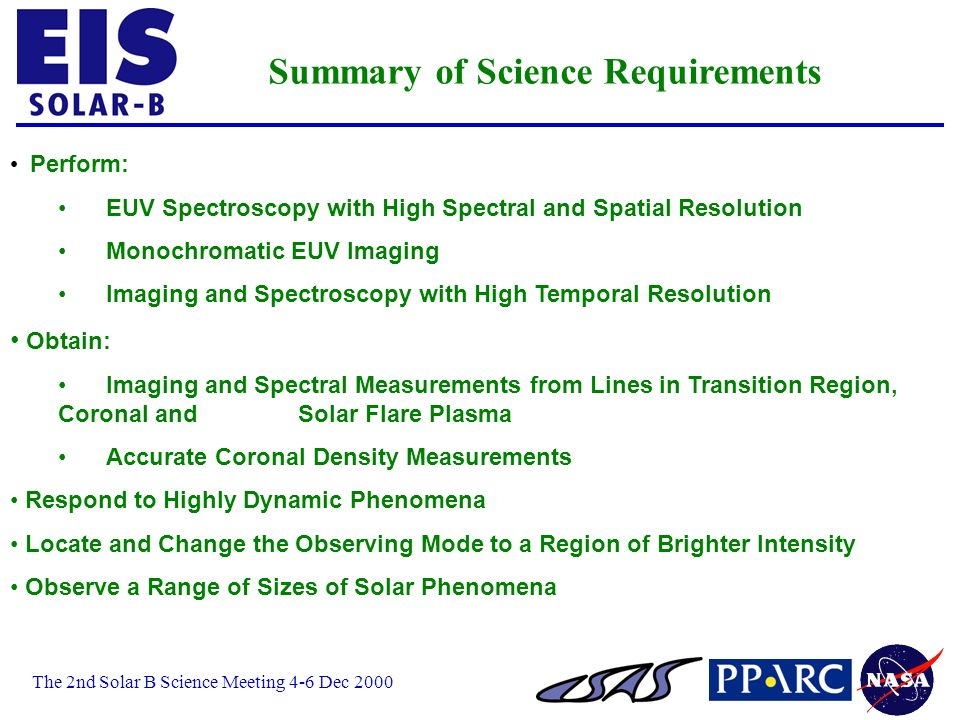 The 2nd Solar B Science Meeting 4-6 Dec 2000 Perform: EUV Spectroscopy with High Spectral and Spatial Resolution Monochromatic EUV Imaging Imaging and Spectroscopy with High Temporal Resolution Obtain: Imaging and Spectral Measurements from Lines in Transition Region, Coronal and Solar Flare Plasma Accurate Coronal Density Measurements Respond to Highly Dynamic Phenomena Locate and Change the Observing Mode to a Region of Brighter Intensity Observe a Range of Sizes of Solar Phenomena Summary of Science Requirements