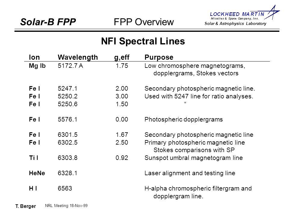 T. Berger Solar-B FPP Solar & Astrophysics Laboratory FPP Overview NRL Meeting 18-Nov-99 NFI Spectral Lines IonWavelength g,eff Purpose Mg Ib5172.7 A1