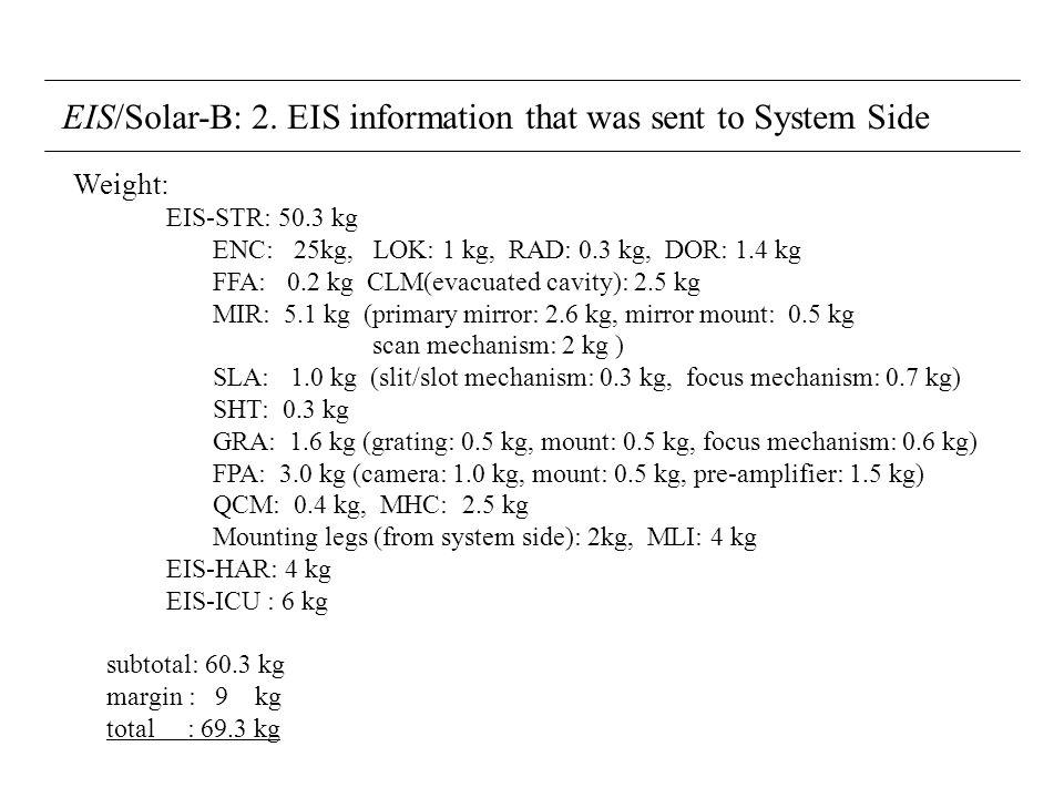 EIS/Solar-B: 2. EIS information that was sent to System Side Weight: EIS-STR: 50.3 kg ENC: 25kg, LOK: 1 kg, RAD: 0.3 kg, DOR: 1.4 kg FFA: 0.2 kg CLM(e
