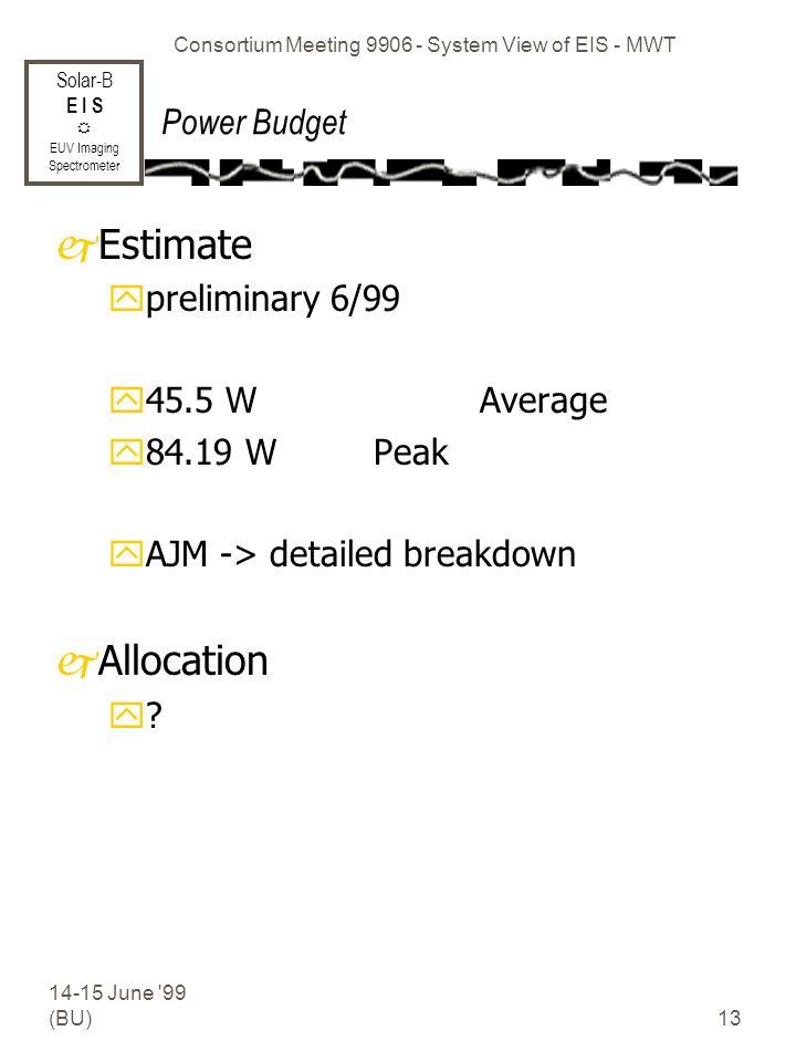 Solar-B E I S EUV Imaging Spectrometer 14-15 June 99 (BU) Consortium Meeting 9906 - System View of EIS - MWT 13 Power Budget jEstimate ypreliminary 6/99 y45.5 W Average y84.19 W Peak yAJM -> detailed breakdown jAllocation y