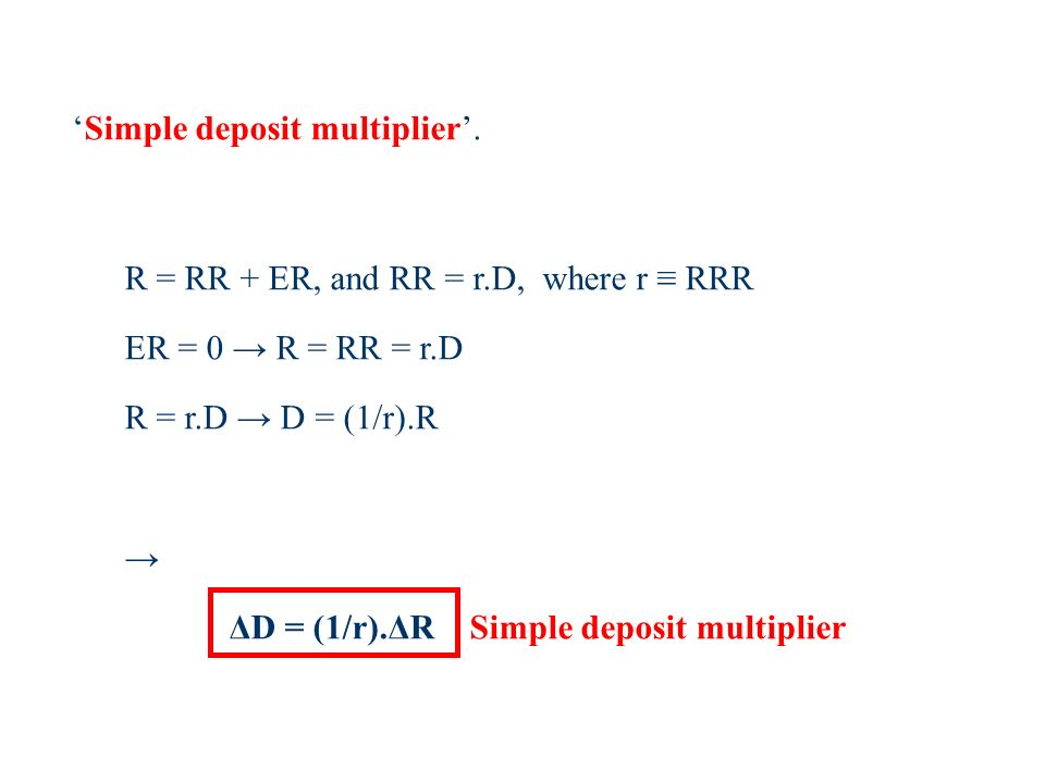 Simple deposit multiplier.