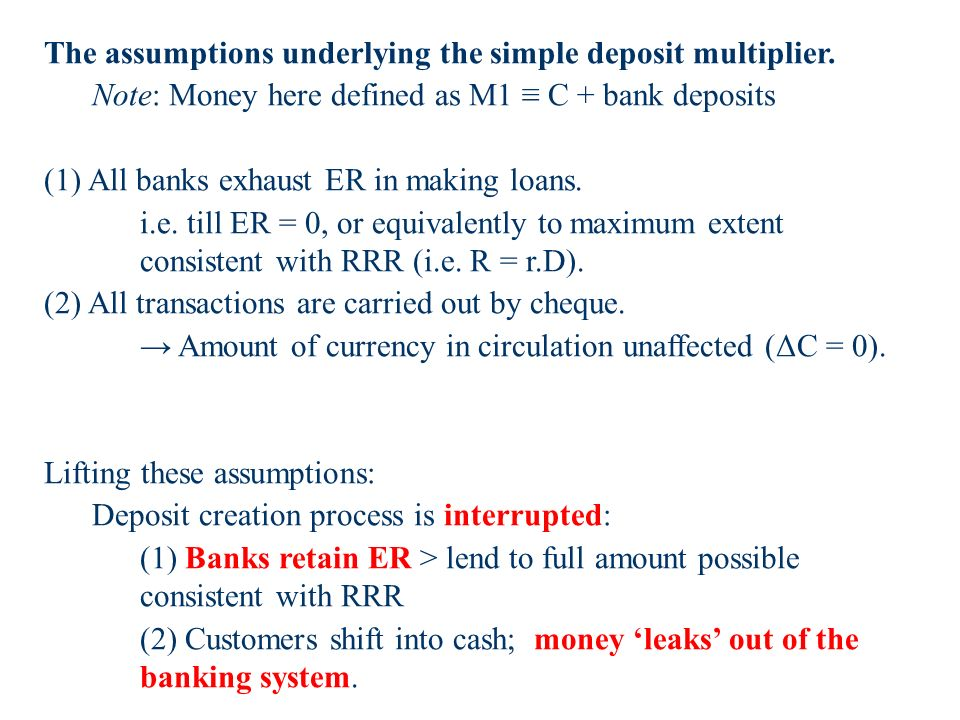 The assumptions underlying the simple deposit multiplier.