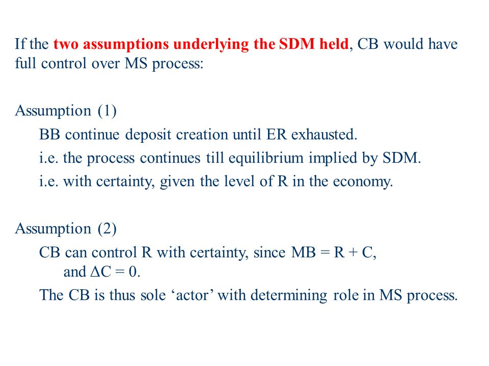 If the two assumptions underlying the SDM held, CB would have full control over MS process: Assumption (1) BB continue deposit creation until ER exhausted.