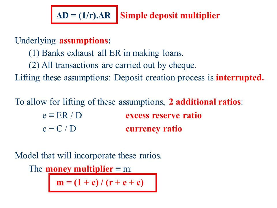 ΔD = (1/r).ΔR Simple deposit multiplier Underlying assumptions: (1) Banks exhaust all ER in making loans.