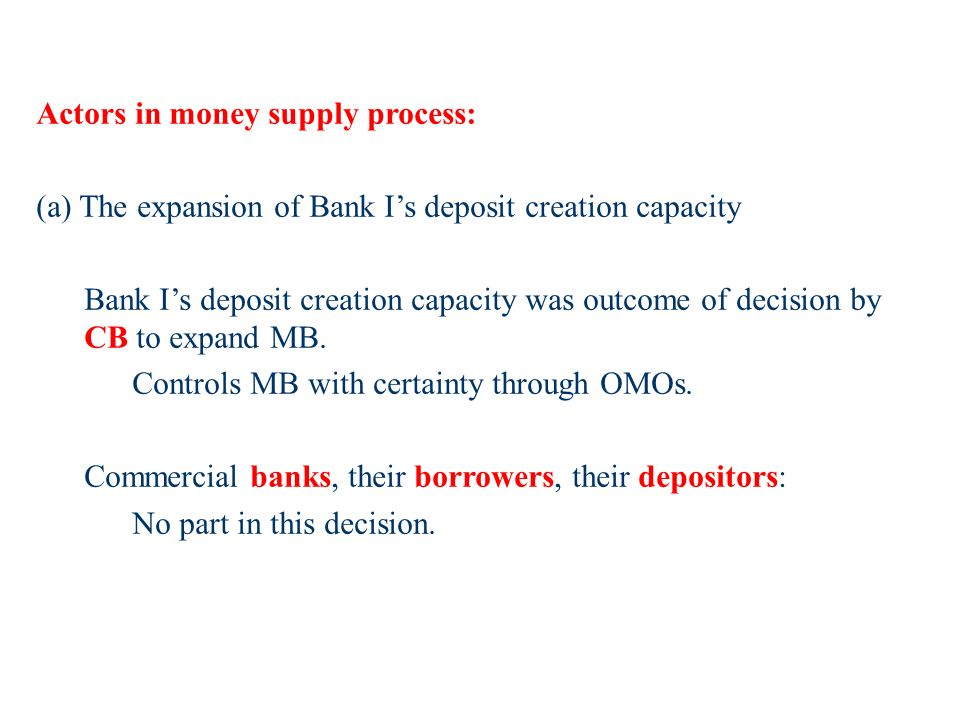Actors in money supply process: (a) The expansion of Bank Is deposit creation capacity Bank Is deposit creation capacity was outcome of decision by CB to expand MB.