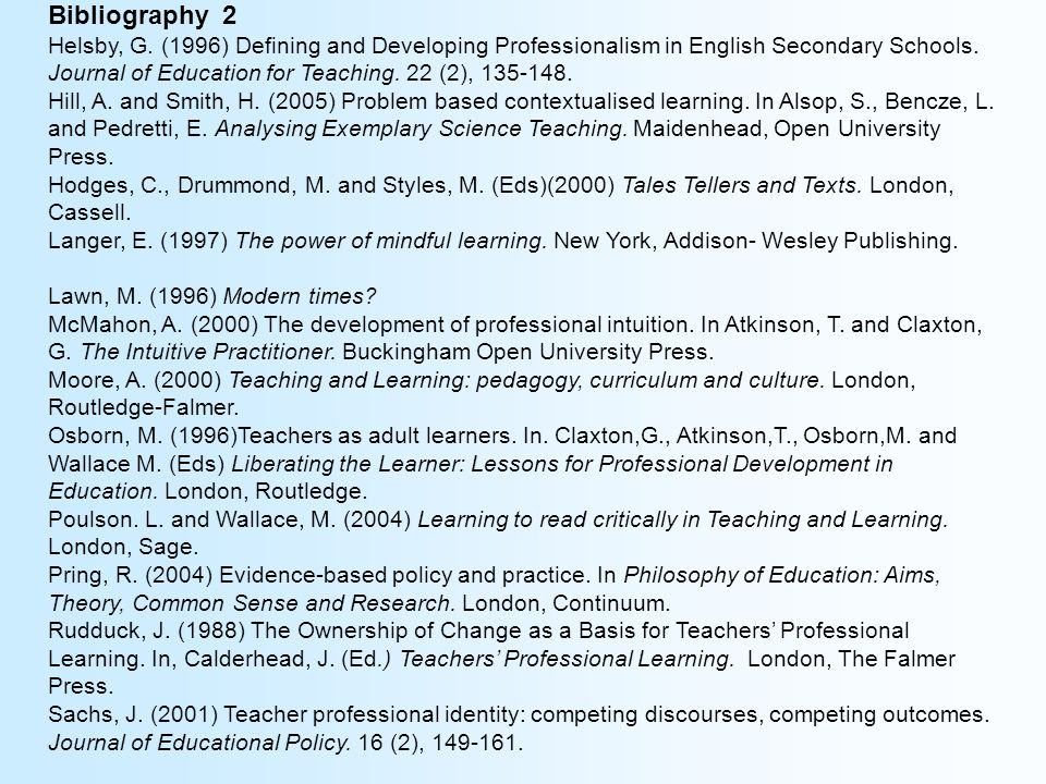 Bibliography 2 Helsby, G. (1996) Defining and Developing Professionalism in English Secondary Schools. Journal of Education for Teaching. 22 (2), 135-
