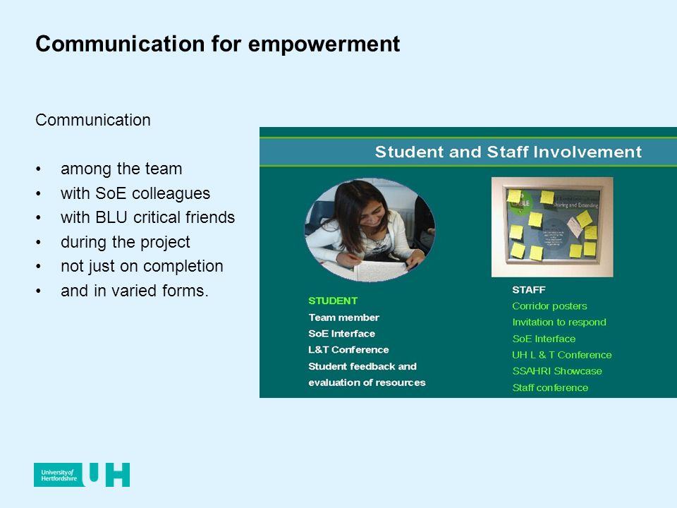 Communication for empowerment Communication among the team with SoE colleagues with BLU critical friends during the project not just on completion and in varied forms.