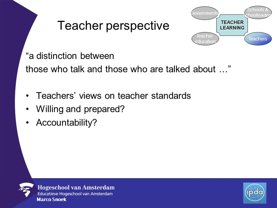 Marco Snoek Teacher perspective a distinction between those who talk and those who are talked about … Teachers views on teacher standards Willing and