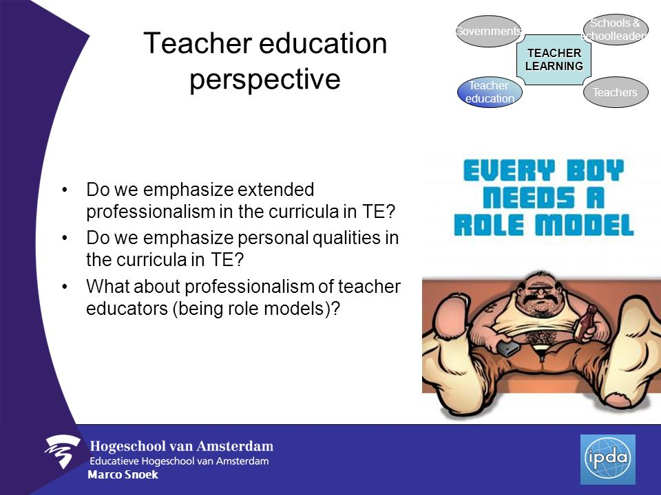 Marco Snoek Teacher education perspective Do we emphasize extended professionalism in the curricula in TE? Do we emphasize personal qualities in the c