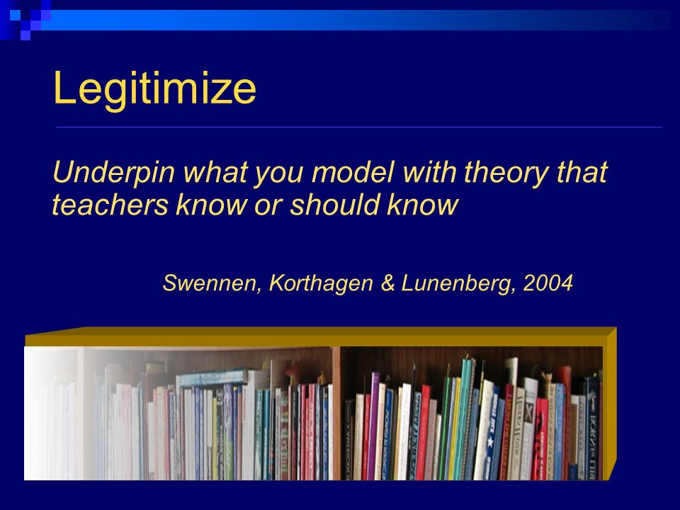 Legitimize Underpin what you model with theory that teachers know or should know Swennen, Korthagen & Lunenberg, 2004