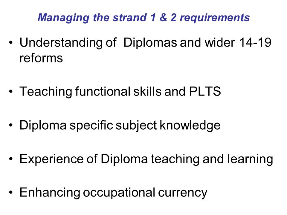 Managing the strand 1 & 2 requirements Understanding of Diplomas and wider reforms Teaching functional skills and PLTS Diploma specific subject knowledge Experience of Diploma teaching and learning Enhancing occupational currency