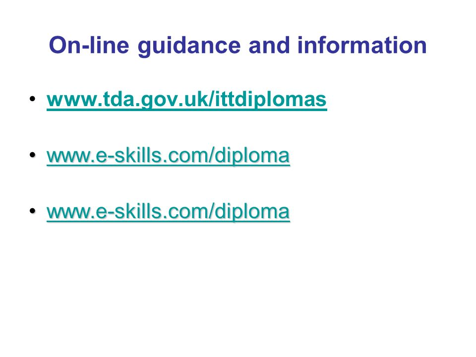 On-line guidance and information