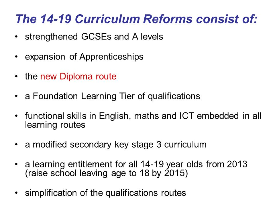 The Curriculum Reforms consist of: strengthened GCSEs and A levels expansion of Apprenticeships the new Diploma route a Foundation Learning Tier of qualifications functional skills in English, maths and ICT embedded in all learning routes a modified secondary key stage 3 curriculum a learning entitlement for all year olds from 2013 (raise school leaving age to 18 by 2015) simplification of the qualifications routes