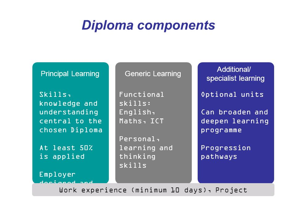 Diploma components Skills, knowledge and understanding central to the chosen Diploma At least 50% is applied Employer designed and endorsed Principal LearningGeneric Learning Additional/ specialist learning Functional skills: English, Maths, ICT Personal, learning and thinking skills Optional units Can broaden and deepen learning programme Progression pathways Work experience (minimum 10 days), Project