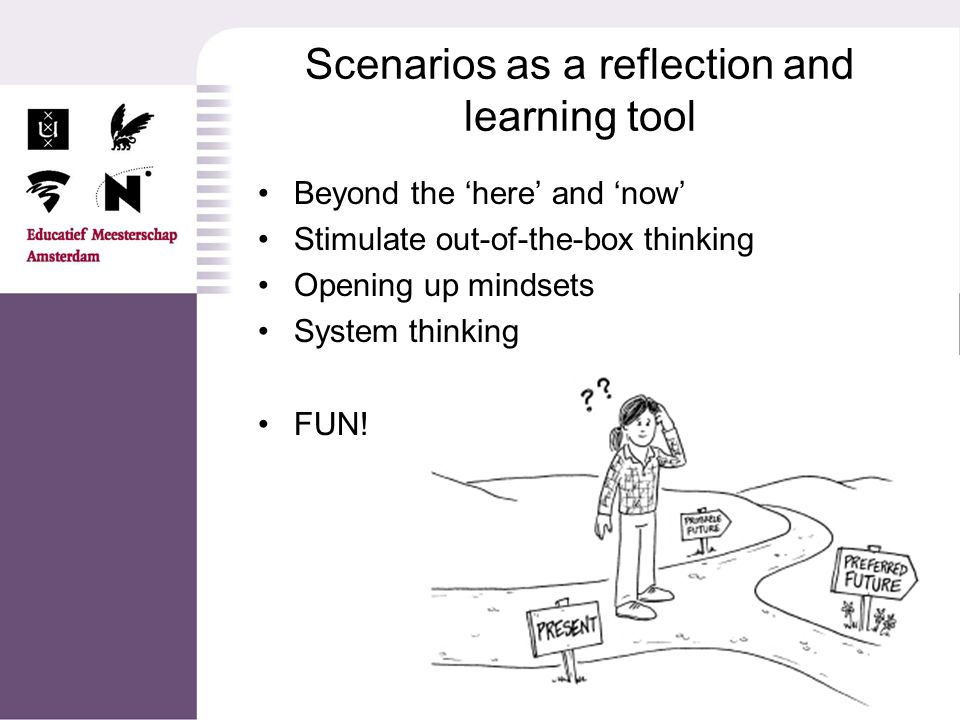 Scenario 1: wishdom of crowds Teachers in the lead – students as prosumers Reduced management (non-productive overhead) Working and learning in communities.