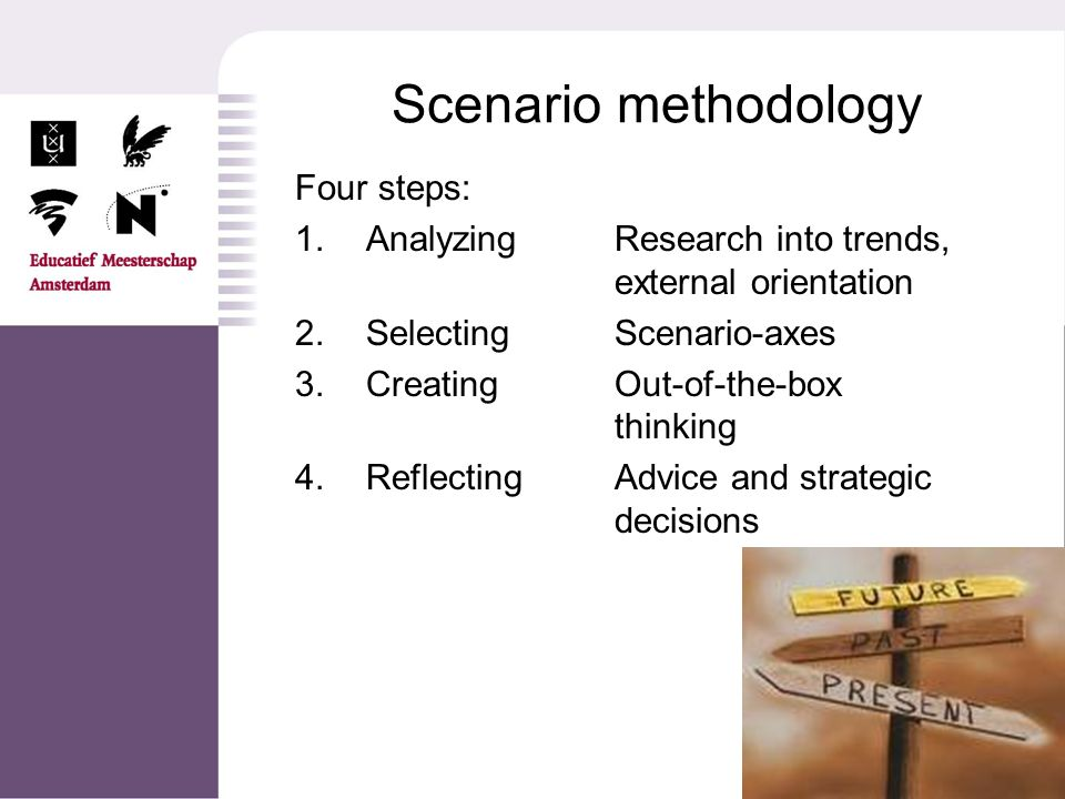 Four steps: 1.AnalyzingResearch into trends, external orientation 2.Selecting Scenario-axes 3.CreatingOut-of-the-box thinking 4.ReflectingAdvice and s