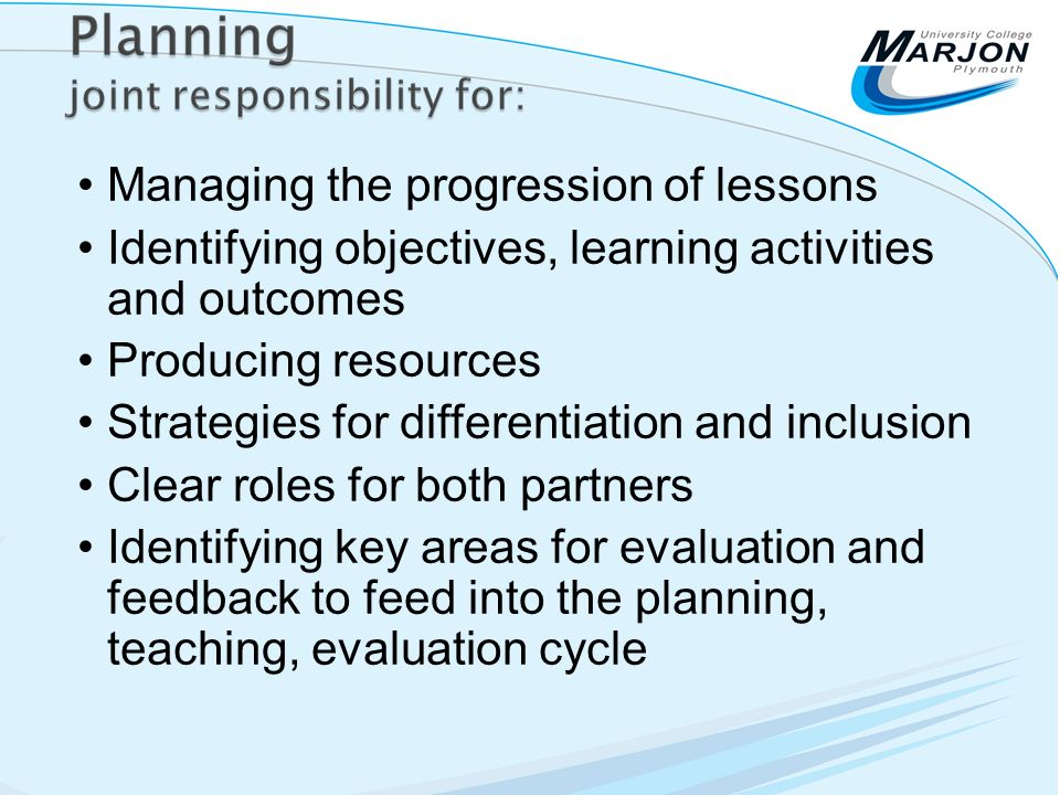 Managing the progression of lessons Identifying objectives, learning activities and outcomes Producing resources Strategies for differentiation and in