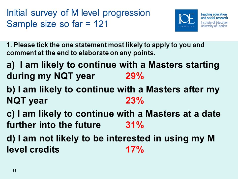 11 Initial survey of M level progression Sample size so far = 121 1.