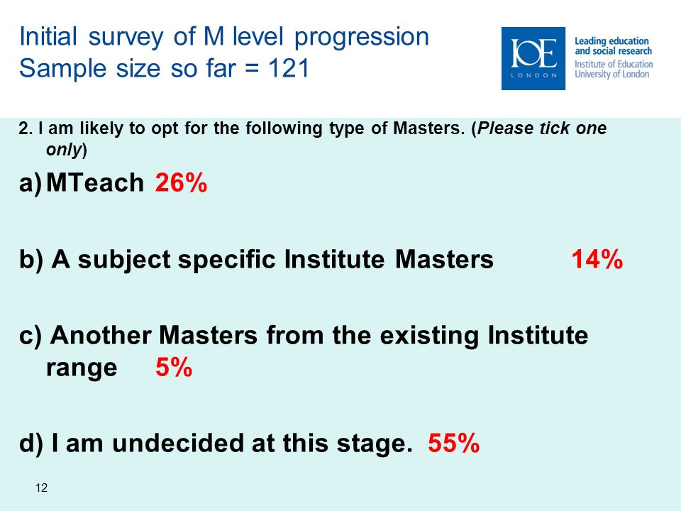 12 Initial survey of M level progression Sample size so far = 121 2.