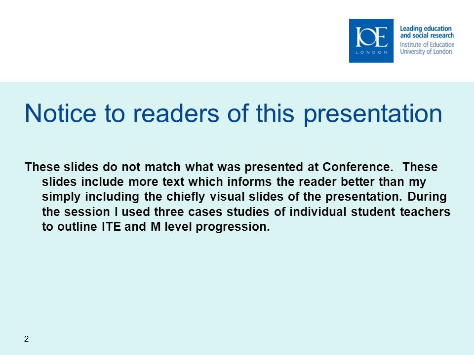 Notice to readers of this presentation These slides do not match what was presented at Conference.