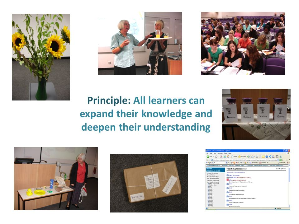 Principle: All learners can expand their knowledge and deepen their understanding