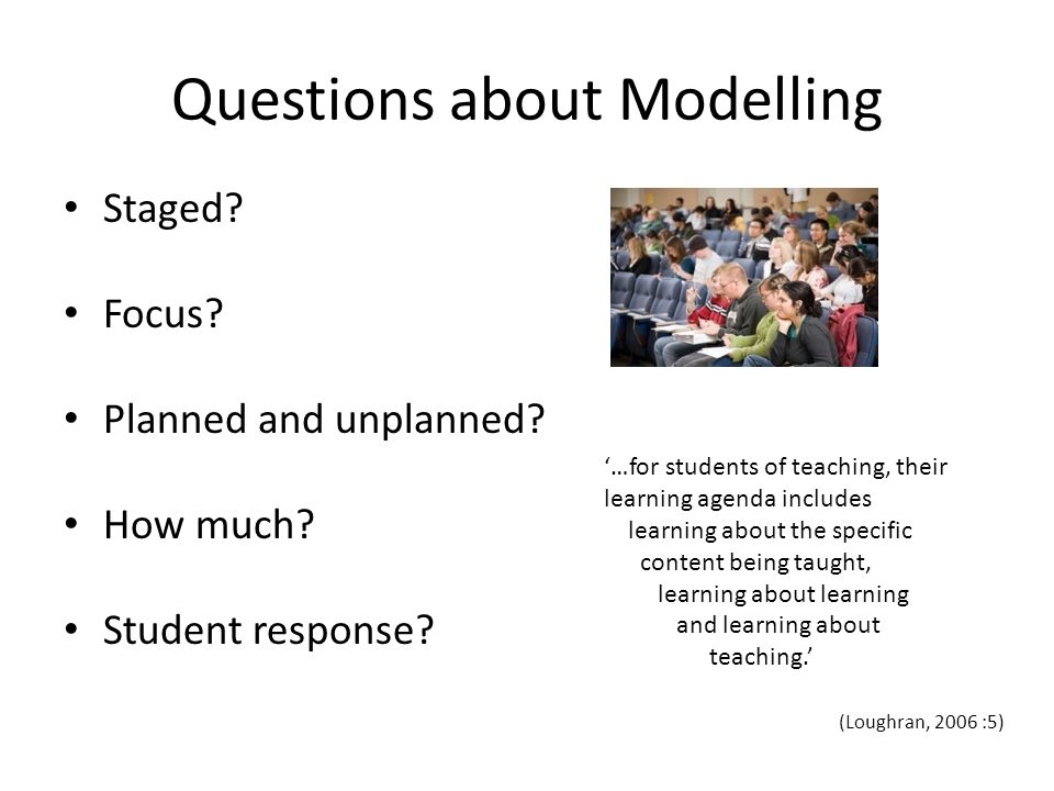 Questions about Modelling Staged. Focus. Planned and unplanned.