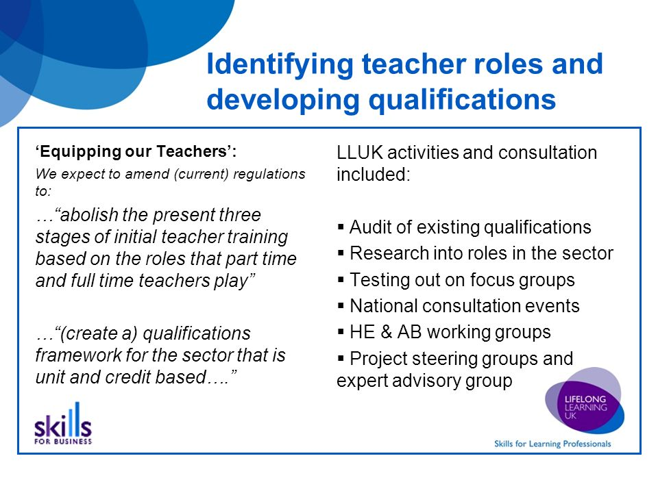 Identifying teacher roles and developing qualifications Equipping our Teachers: We expect to amend (current) regulations to: …abolish the present three stages of initial teacher training based on the roles that part time and full time teachers play …(create a) qualifications framework for the sector that is unit and credit based….