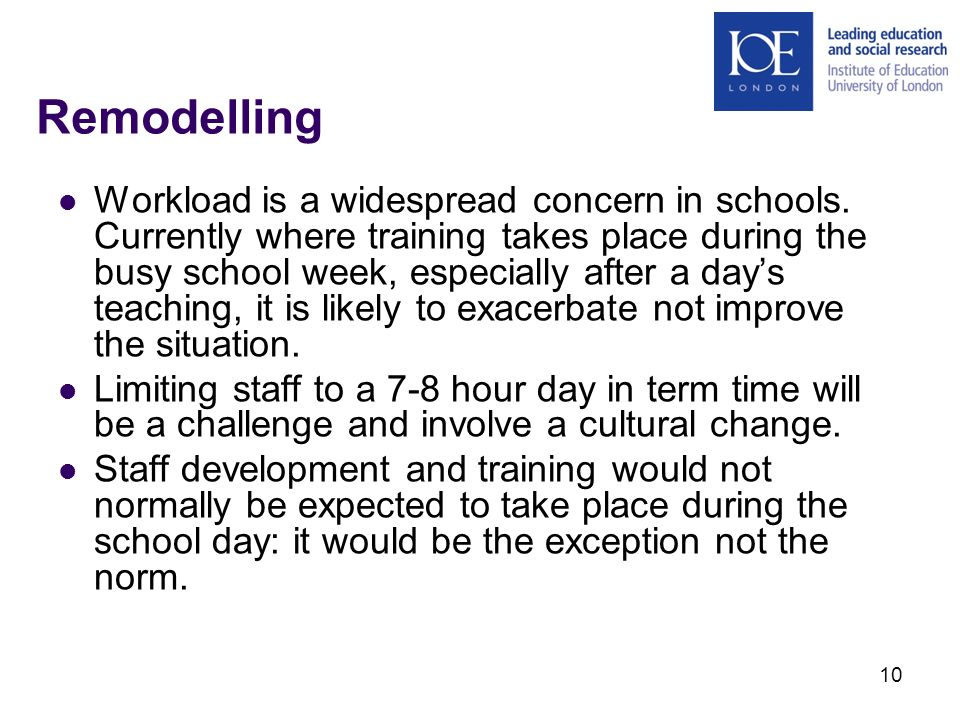 10 Remodelling Workload is a widespread concern in schools.