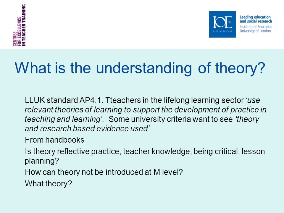 What is the understanding of theory. LLUK standard AP4.1.